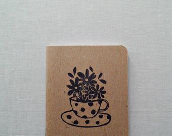 Tea lover gift, Gratitude journal, Floral notebook, Tea cup art, Gift for her, Inspirational journal, Cute notebooks, Daily journal