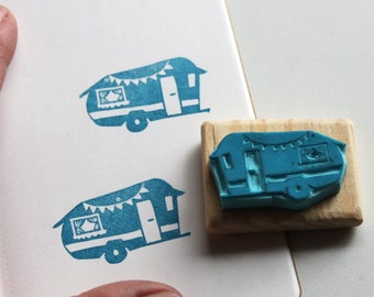Vintage Caravan stamp, hand carved, wood mounted
