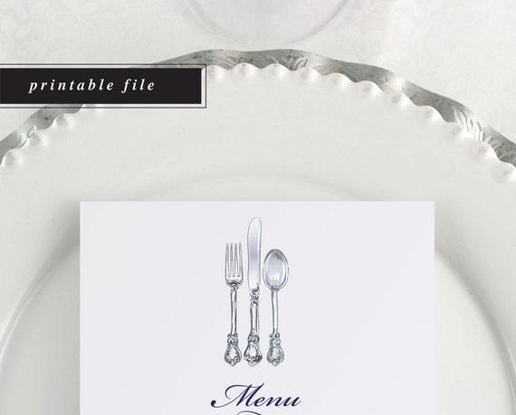 Printable Menu Wedding Menu Silverware