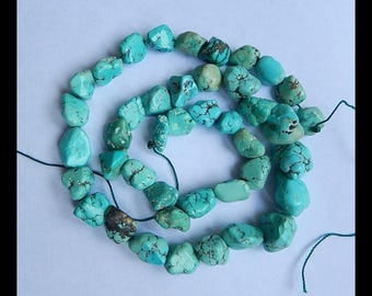 Nugget Turquoise Gemstone Loose Beads,1 Strand,42.5cm In The Lenght,16x12x10mm,10x9x6mm,46.7g(d0224)