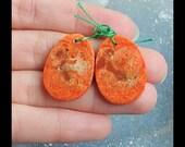 Orange Coral Earring Bead,25x18x3mm,4.4g