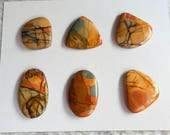 6 PCS Natural  Multi-Color Picasso Jasper Cabochon set  Jewelry Gift Gem Customized Gemstone Beads Fashion Earrings ,18x17x4 26x16x4mm