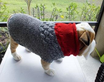 "Dog Sweater Hand Knit English Bulldog Duke 17.5""  long Merino Wool"