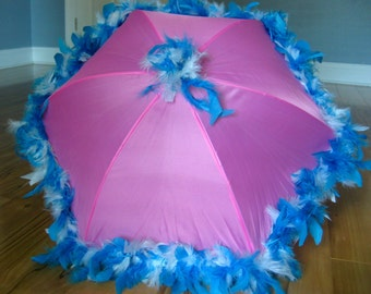 Princess Parasol Second Line Umbrella Turquoise Blue and White Mix on Light Pink Girl- Tea Party- Garden Party- Flower Girl- New Orleans