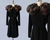 1940s Coat / 40s Black NIPPED WAIST Princess Coat / Fox Fur Collar / Wrap / Tie Waist