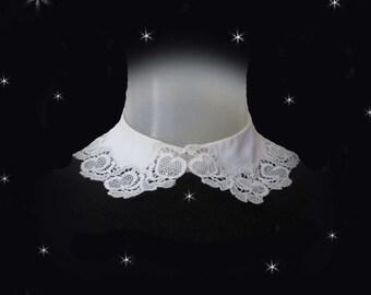 Peter Pan Collar, Vintage Removable Collar, White Peter Pan Collar, Retro Detachable Collar with Lace, Womens Dress Collar, Stranger Things