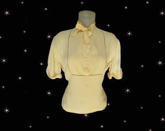 1930s Blouse, AS IS for Study, for Pattern or or for Those Amazing Glass Buttons, Yellow Silk Crepe with Bow Tie, Plus Size