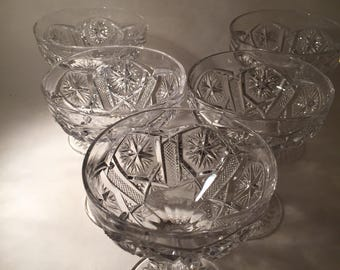 5 Presssed Glass Champagne Coupes