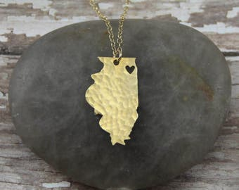 Gold Illinois State Necklace - I Heart Chicago Necklace - Gold Illinois Necklace - Gold Illinois Pendant
