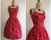1950s Summer Dress 50s Red Sundress Bandana Novelty Print