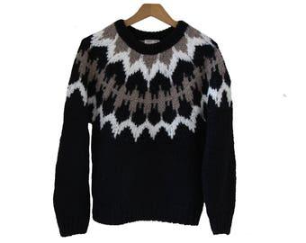 Vintage Black Fair Isle Sweater Womens Size Small
