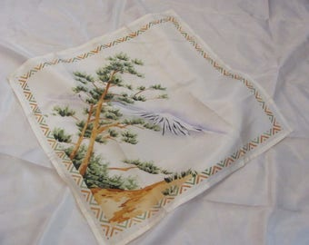 Beautiful White Vintage Painted Silk Hankie Handkerchief