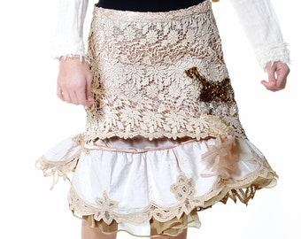 Cotton Tablecloth and Doily, Tea Lace Skirt, Embellished Skirt, Layered Skirt, Faerie Skirt, Wedding Skirt, Asymmetrical, Festival Skirt