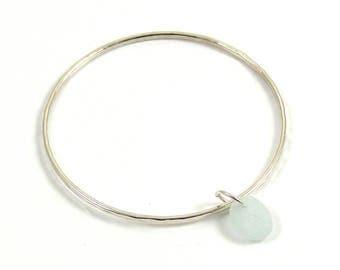 Sterling Silver Bangle | Seamist Sea Glass | Sea Glass Charm | Sterling Silver Bracelet | Hammered Bangle | Nautical | Beach Wedding