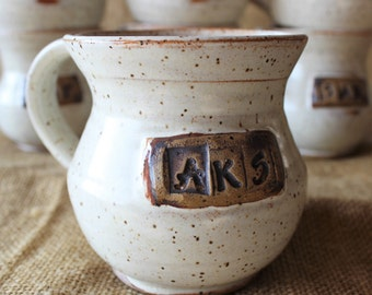 Personalized wheel thrown stoneware pottery mug, bridesmaids gift, groomsmen gift, Wedding gift, Customized gift, anniversary gift