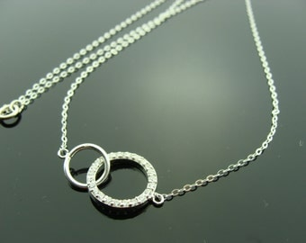 Infinity Sterling Silver CZ Pave Circle Necklace