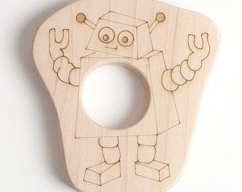 Robot Teether // An Eco-Friendly Safe Baby Toy & Teether // Natural Wood Teether Makes the Perfect Personalized Baby Shower Gift
