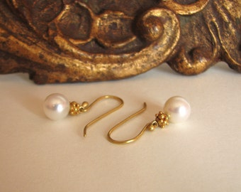 earrings, pearls, 22k gold