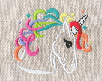 Rainbow pony head outline - machine embroidery applique designs 4x4, 5x7   INSTANT DOWNLOAD