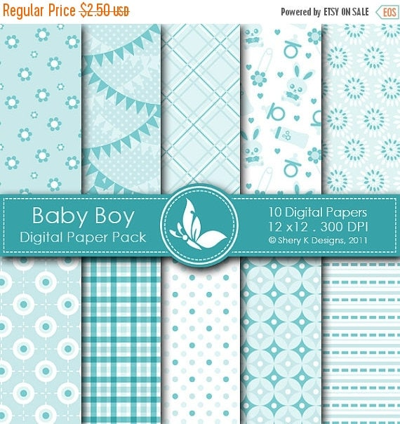 40% off Baby Boy Paper Pack - 10 Digital paper - 12 x12 - 300 DPI