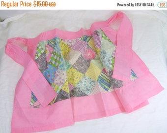ON SALE Vintage Kitchen Apron Pink Scrap Quilt Patchwork Cotton