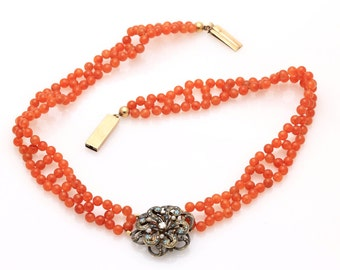 Hand Woven Enamel & Diamond Forget me not Necklace with Orange Chalcedony Beads