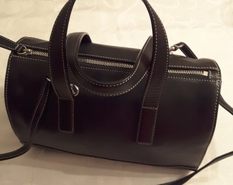 Rare Genuine Black Leather Coach Duffle Bag/Doctor Bag/Satchel/Tote circa 1990's