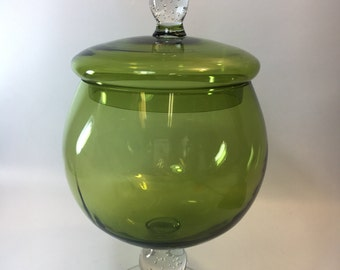 Avocado green  glass candy jar hand blown bubbles footed brandy sniffer