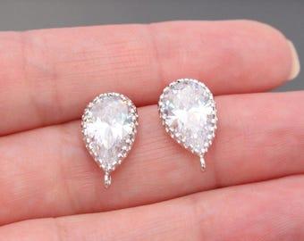 Silver CZ Sterling Silver Post Drop Crystal earring post Findings, Earring Base setting, Wedding Jewelry Supplies, 2 pc, J518546