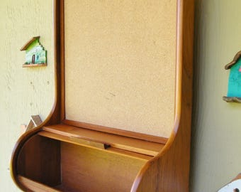 Vintage Teak Home, Office Storage, Memo Center, Bulletin Board - Teak Wall Mount Shelf