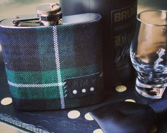 Bespoke tartan hipflask gift, groom gift, father of the bride, best man