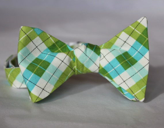 Spring Green and Turquoise Plaid Bow Tie - Groomsmen and wedding tie - clip on, pre-tied with strap or self tying