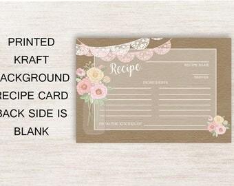 Bridal Shower Recipe Cards, Mason Jar Recipe Card, Rustic Recipe Card,  Mason Jar Recipe Card, Pink Floral Recipe Card