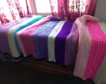 Beautiful twin size afghan can be customized to your color and size.