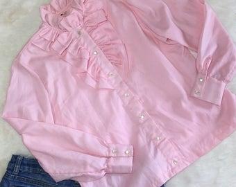 Blush Pink Tuxedo Ruffle Secretary Governess Western Rockabilly Blouse