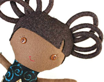 Mixed race rag doll, biracial ragdoll, African Print doll, African doll