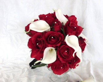 Red rose with white calla lily black ribbon bouquet and boutonniere 2 piece package