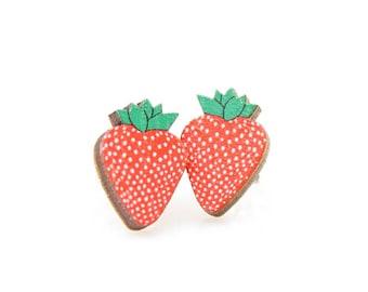 Strawberry Stud Earrings - Laser Cut Wood - Super light weight Earrings