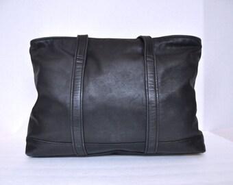Large Leather Black Coach Tote Shoulder Bag