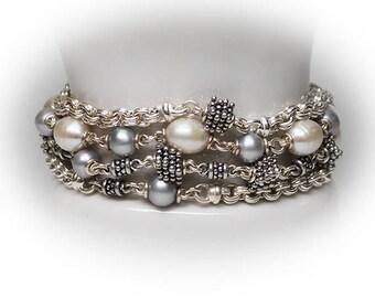 Sterling Silver Multi Strand Pearl Bracelet