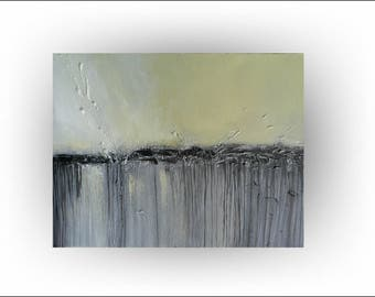 """Skye Taylor Modern Abstract Original Painting Art Yellow and Gray Pallette Knife  Painting Canvas  -""""New Day Awakening"""" - 18 x 24"""