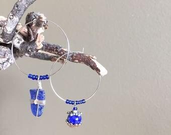 mismatched blue silver hoop earrings - assymetrical blue boho hoop earrings - 30mm silver hoop earrings - mismatched blue hoop earrings