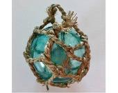 "SUPER SALE Vintage Glass Fishing Float Full Net, 5"" Aqua Blue,Nautical Decor, Beach Decor, Glass Float, Free Shipping USA, Beach Wedding"