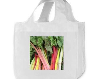 Farmers Market Mixed Rainbow Chard Ivory Reusable Shopping Bag