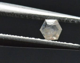 3.3mm 0.105ct white silver Hexagon diamond Conflict free ethically sourced