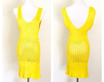 Beach or pool cover up Dress Size M, Sleeveless, yellow, handmade in the U S A, item no. Bde011