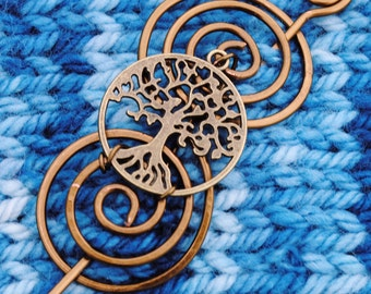 Tree of Life Shawl Pin in Vintage Bronze