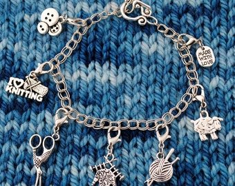 Knit Charm Bracelet with Toggle in Silver
