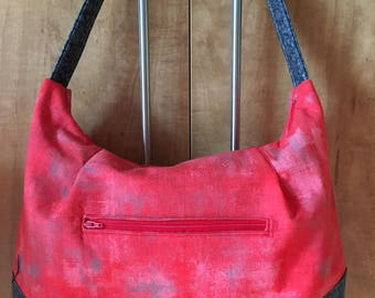 Red and Grey Hobo Tote