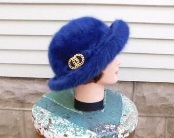Vintage Kangol Angora Bowler Hat, Electric Blue Fuzzy Hat